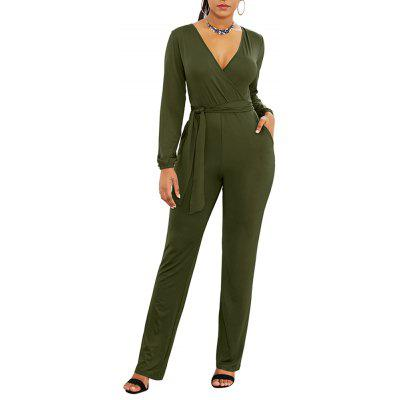 Women's V Neck Slim Solid Color Long Sleeve with Belt Straight Pants Jumpsuit