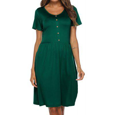 Women Round Neck with Button Short Sleeve Solid Color A Line Dress