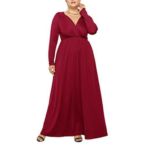 ce182af3c906 Women's V Neck Solid Color Long Sleeve Plus Size Maxi Dress | Gearbest