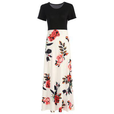 Women's Round Neck Floral Print Stitching Short Sleeve Bohemia Maxi Dress