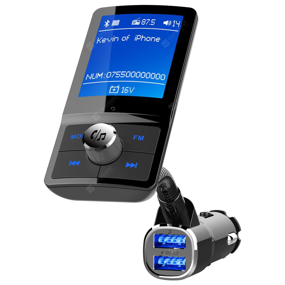 BC43 Bluetooth FM Transmitter Handsfree Car Kit MP3 Player QC3.0 Charger - Black