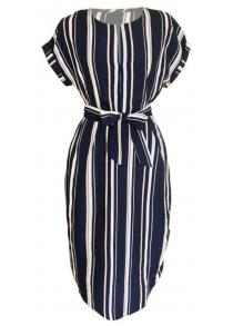 89264212f6 Long V-Collar and Short Sleeve Stripe Printed Dresses in Street Leisure  Fashion