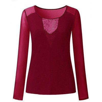 Women Sexy Casual Mesh Top Blouses Solid Slim View Through