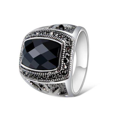 Male Silver-Plated Wide-Brimmed Star-Studded Black Crystal Ring