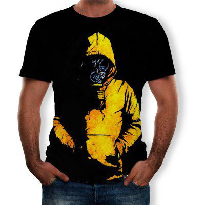 Mask Man Print Moda Men Short Sleeve T-shirt