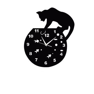 Creative Kitten Wall Clock Three-Dimensional Acrylic Wall Clock Wall Clock