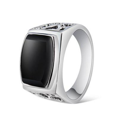Male Silver-Plated Cutout with Black Crystal Ring