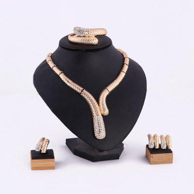 Vergoldete Halskette Ohrringe Vierteiliger Anzug Fashion Wedding Ball Jewelry Set