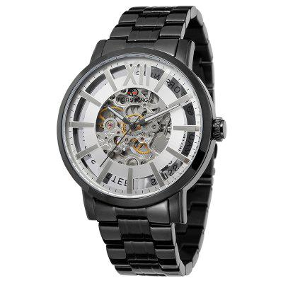 Brand Watches Men Stainless Steel Skeleton Automatic Mechanical  Wrist Watch