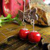 Handmade National Style Porcelain Drop Earring - RUBY RED