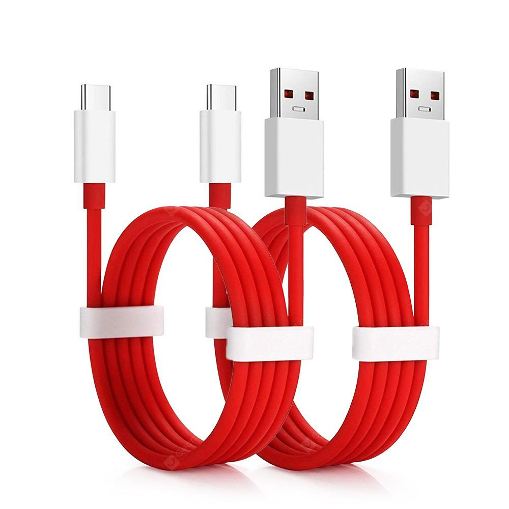 2PCS 4A Fast Charging Data USB Type-C Cable for Oneplus 6T / 6 / 5T / 5 / 3T - Red