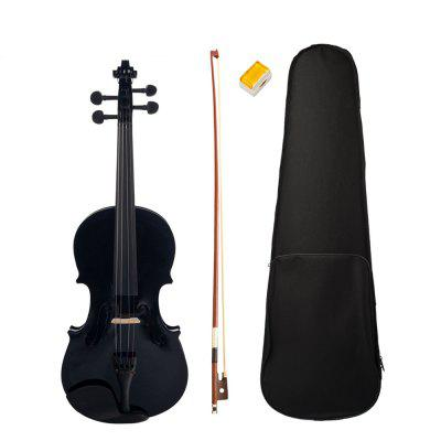 Full Size 4/4 Acoustic Violin Set With Case Bow Rosin Black Color