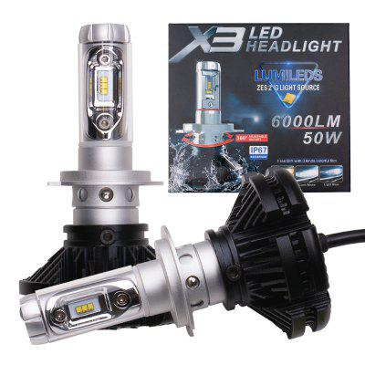 1 Kit Line Pattern Beam Tri-colors H7 LED Headlight