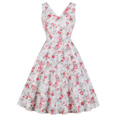 V-Neck Printing Flowers Fold with Pockets Contracted Dress