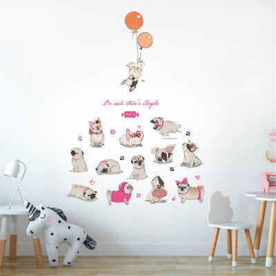Cartoon Color Puppy Balloon Sticker Bedroom Wall Decoration Wall Sticker
