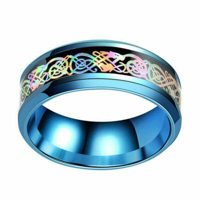 Stainless Steel Colorful Dragon Ring Mens Jewelry Wedding Band for Lovers