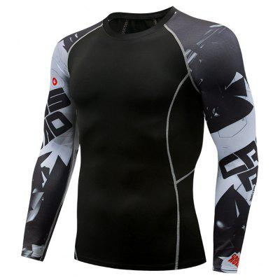 Mens de compressão Top manga comprida calças justas Sports T-shirt