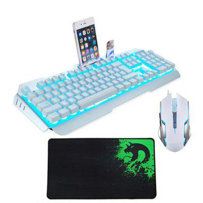 USB Metal Optical Gaming Keyboard Mouse and Pad Kit with Phone Holder 3pcs