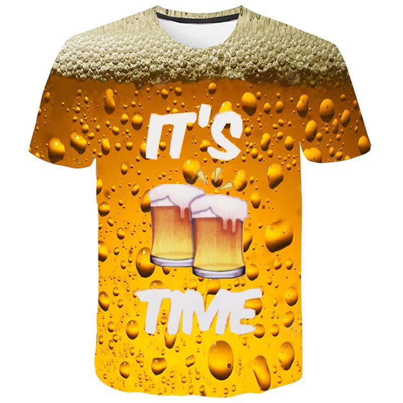 New Man Fashion 3D Print Beer Bubble O-Neck Short Sleeve T-Shirt Summer t0377