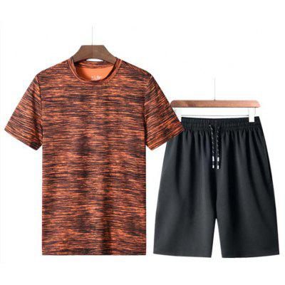 New Man Fashion O-Neck Short Sleeve T-Shirt Fast Dry Short Pant Suit t0379