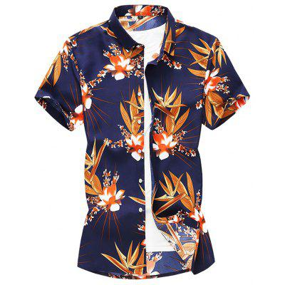 Men's  Outing Summer Large Size Casual Fashion Trend Beach Short Sleeve Shirt