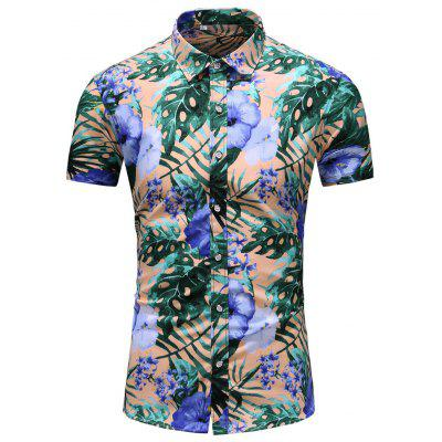 Men's  Outing Summer Large Size Casual Fashion Short Sleeve Shirt