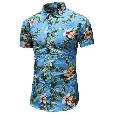 Men's  Outing Summer Large Size Casual Fashion Slim Short Sleeve Shirt