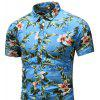 Men's  Outing Summer Large Size Casual Fashion Slim Short Sleeve Shirt - MULTI-C