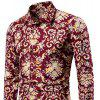 Men's  Outgoing National Style Print Slim Beach Vacation Leisure Flower Shirt - RED
