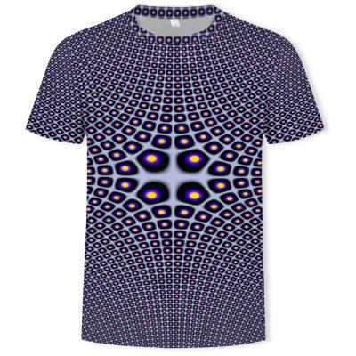 Summer New 3D Printed Casual Men's Round Neck Shirt