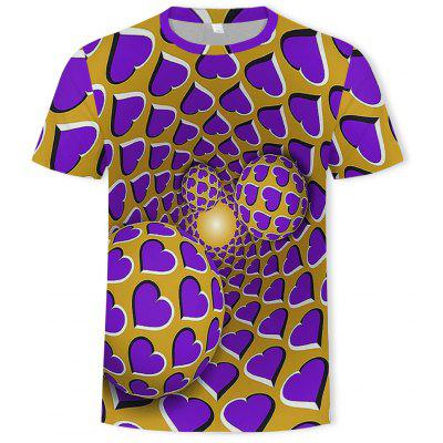 Summer New 3D Stun Heart-Shaped Print Men's Round Neck Shirt