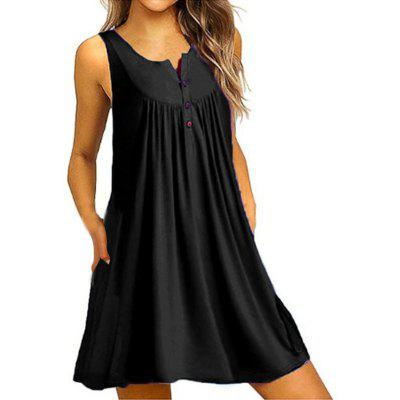 Women's Round Neck Solid Color Button Sleeveless Vest Casual Dress