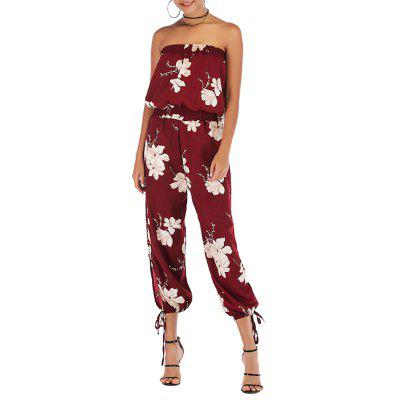 Bandeau Off Shoulder Backless Floral Print Sexy Beach Summer Chiffon Jumpsuit