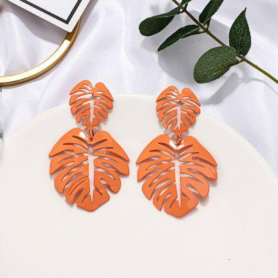 Exaggerated Personality Candy Color Hollow Irregular Leaf Alloy Earrings
