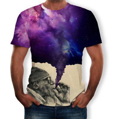 3D Summer Personality Smoked Star sky Print Men's Short-Sleeved T-shirt