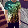 New Summer Men Elephant 3D Print Kurzarm T-Shirt - MULTI