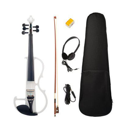 4/4 Electric Violin Solid Wood White Color 5 String