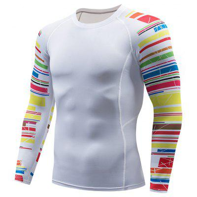 Men Tee Quick-Drying T-Shirt Tights Tops Printed Long Sleeve Gym Fitness Sports