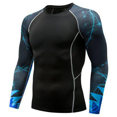 Men'S Quick Drying Long Sleeve Tops Compression Gym Fitness Sport 3D T-Shirt