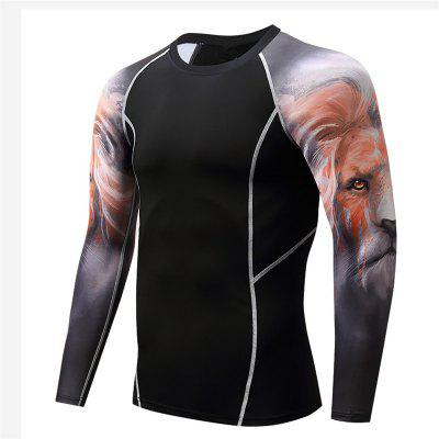Herren Langarm Lion's Compression Gym Fitness Sport 3D T-Shirt