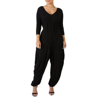 Women'S Sexy Backless V Neck Solid Color Harem Pants Jumpsuit