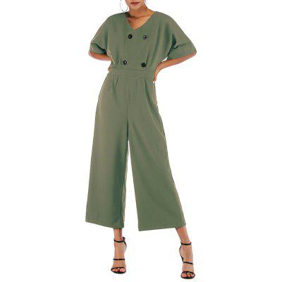 V Neck Solid Color Button Batwing Sleeve Loose Wide Leg Pant Jumpsuit