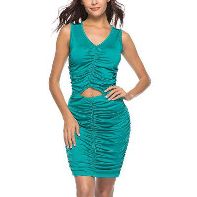 New Lady Fashion Pleated Hollow Nightclub Sexy Mini Summer Solid Dress h095