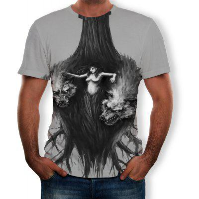 3D Summer New Fantasy Tree Man and Wolf Print Men's Short-Sleeved T-shirt
