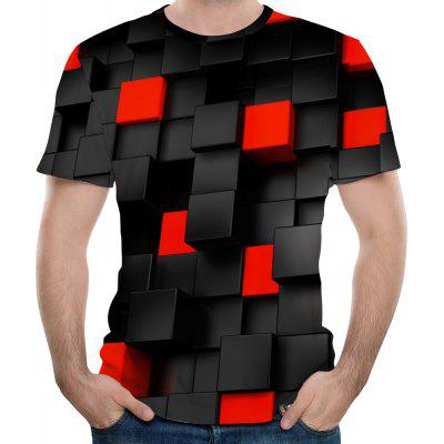 3D Summer Fashion Square Body Print Men's Short-Sleeved T-shirt