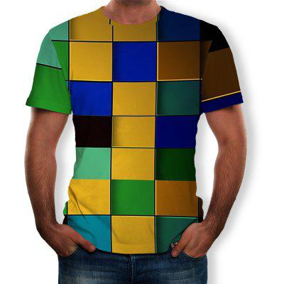 3D Summer New Colorful Plaid Print Men's Short-Sleeved T-shirt
