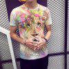 Summer Fashion Europe and America Lion Print Men's Short-sleeved T-shirt - MULTI