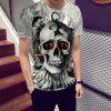 Fashion Fire Skull Print Men's Short sleeve T-shirt - MULTI
