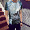 Fashion Oh Wolf Print Men's Short sleeve T-shirt - MULTI