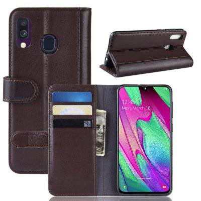 Genuine Leather Flip Case for Samsung Galaxy A40 Protective Wallet